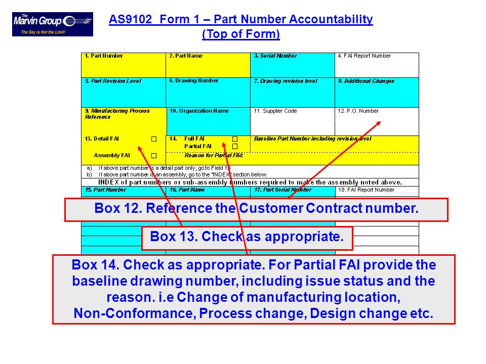Box 9. Reference the internal works order. Box 10. Name of the organization performing the FAI. Box 11. Reference the supplier vendor code located on