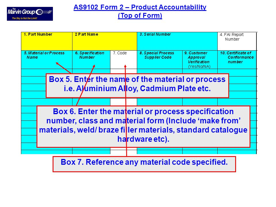 Boxes 1 - 4 are repeated on all forms for convenience and traceability. AS9102 Form 2 – Product Accountability
