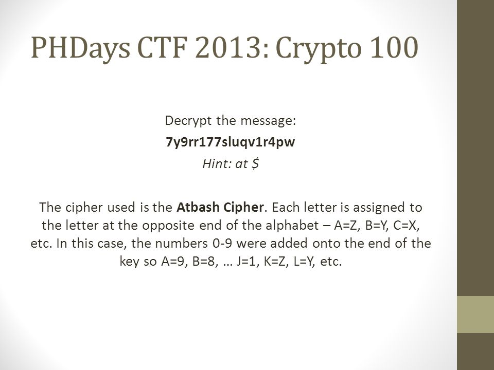 PHDays CTF 2013: Crypto 100 Decrypt the message: 7y9rr177sluqv1r4pw Hint: at $ The cipher used is the Atbash Cipher.