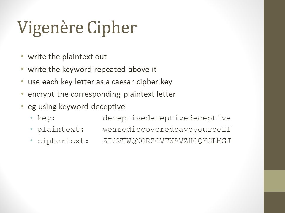 Vigenère Cipher write the plaintext out write the keyword repeated above it use each key letter as a caesar cipher key encrypt the corresponding plaintext letter eg using keyword deceptive key: deceptivedeceptivedeceptive plaintext: wearediscoveredsaveyourself ciphertext:ZICVTWQNGRZGVTWAVZHCQYGLMGJ