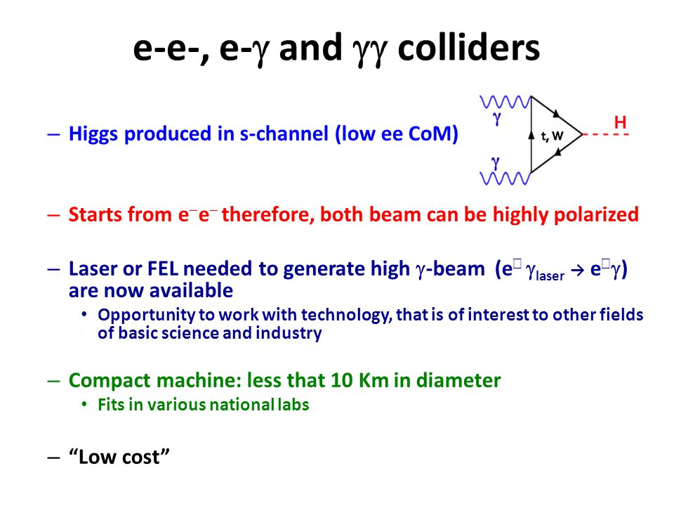 e-e-, e-  and  colliders – Higgs produced in s-channel (low ee CoM) – Starts from e  e  therefore, both beam can be highly polarized – Laser or FEL needed to generate high  -beam (e −   laser → e −  ) are now available Opportunity to work with technology, that is of interest to other fields of basic science and industry – Compact machine: less that 10 Km in diameter Fits in various national labs – Low cost