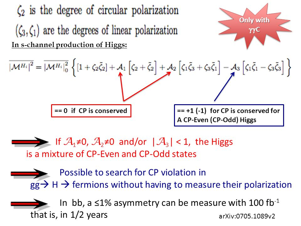 Only with  C == 0 if CP is conserved In s-channel production of Higgs: == +1 (-1) for CP is conserved for A CP-Even (CP-Odd) Higgs If A 1 ≠0, A 2 ≠0