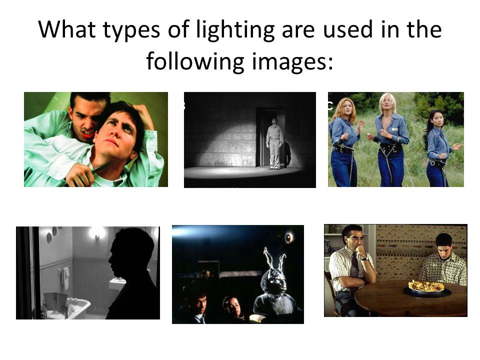 What types of lighting are used in the following images: A FD C E B