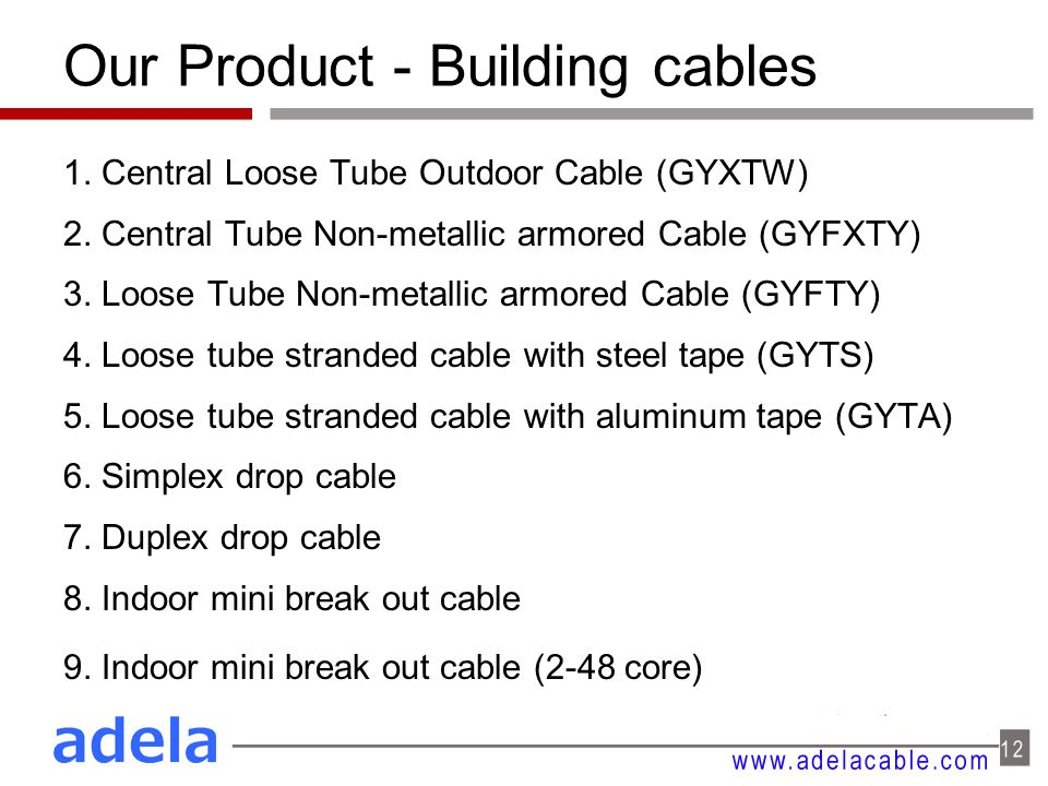 Our Product - Building cables 1. Central Loose Tube Outdoor Cable (GYXTW) 2. Central Tube Non-metallic armored Cable (GYFXTY) 3. Loose Tube Non-metall