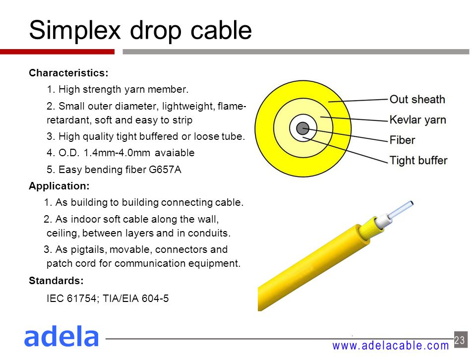 Simplex drop cable Characteristics: 1. High strength yarn member. 2. Small outer diameter, lightweight, flame- retardant, soft and easy to strip 3. Hi
