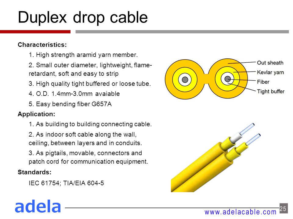 Duplex drop cable Characteristics: 1. High strength aramid yarn member. 2. Small outer diameter, lightweight, flame- retardant, soft and easy to strip