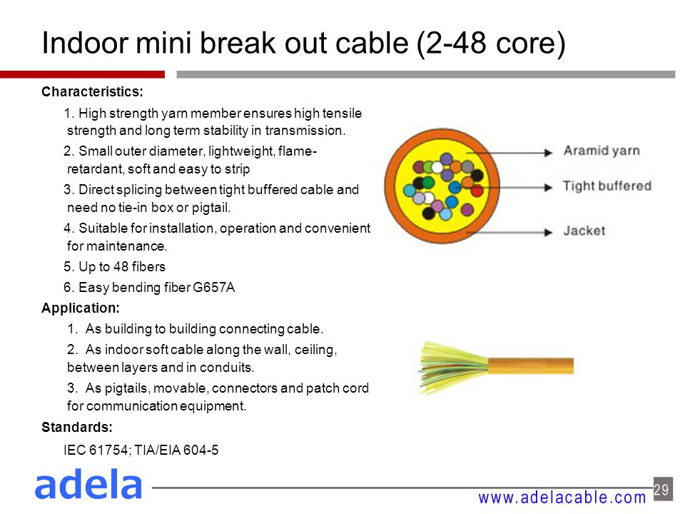 Indoor mini break out cable (2-48 core) Characteristics: 1.