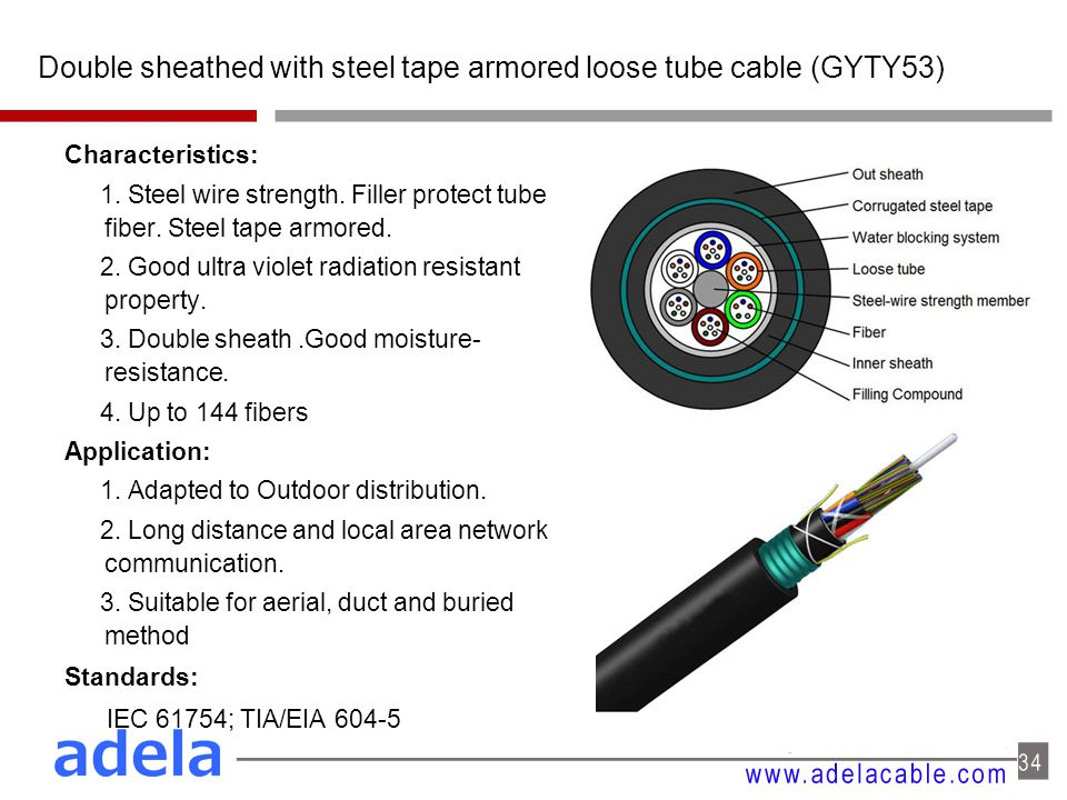 Double sheathed with steel tape armored loose tube cable (GYTY53) Characteristics: 1. Steel wire strength. Filler protect tube fiber. Steel tape armor