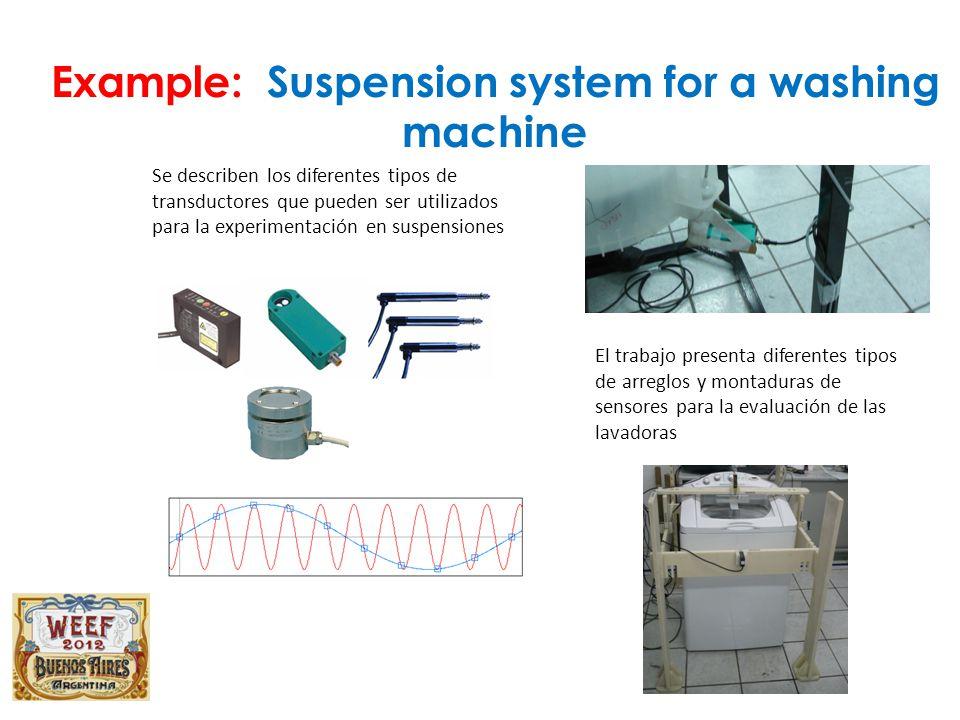 Se describen los diferentes tipos de transductores que pueden ser utilizados para la experimentación en suspensiones El trabajo presenta diferentes tipos de arreglos y montaduras de sensores para la evaluación de las lavadoras Example: Suspension system for a washing machine