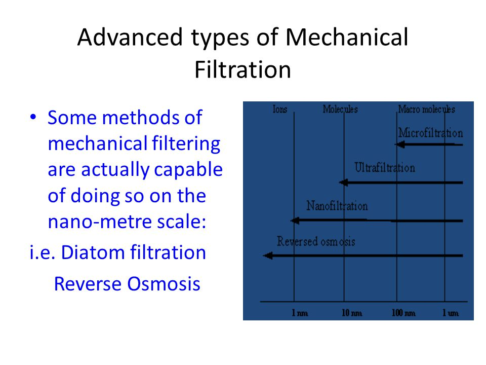 Advanced types of Mechanical Filtration Some methods of mechanical filtering are actually capable of doing so on the nano-metre scale: i.e.