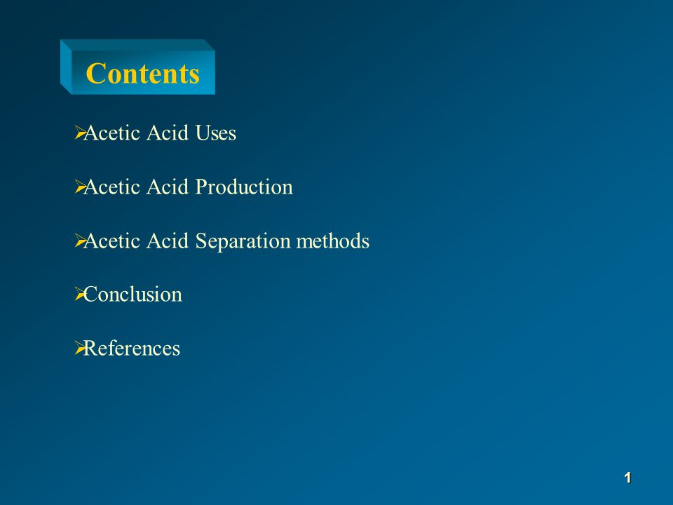  In vinyl acetate monomer production  In acetic anhydride production  As solvent in production of terphetalic acid  As recrystalization solvent  In Silage  In production of various acetates such as:  Sodium acetate  Copper acetate  Aluminum acetate  Palladium acetate Acetic Acid Uses 2
