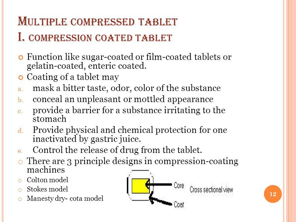 M ULTIPLE COMPRESSED TABLET I. COMPRESSION COATED TABLET Function like sugar-coated or film-coated tablets or gelatin-coated, enteric coated. Coating