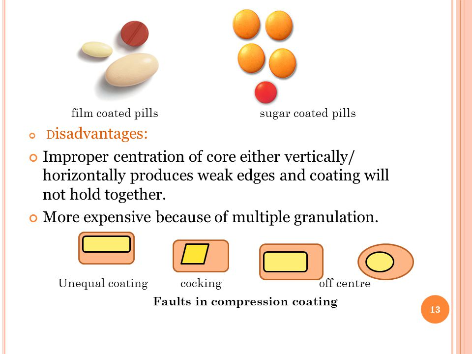 film coated pills sugar coated pills D isadvantages: Improper centration of core either vertically/ horizontally produces weak edges and coating will