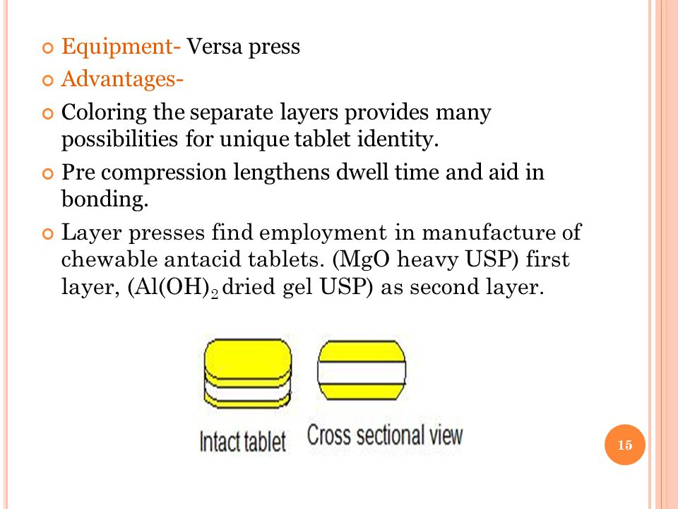 Equipment- Versa press Advantages- Coloring the separate layers provides many possibilities for unique tablet identity. Pre compression lengthens dwel