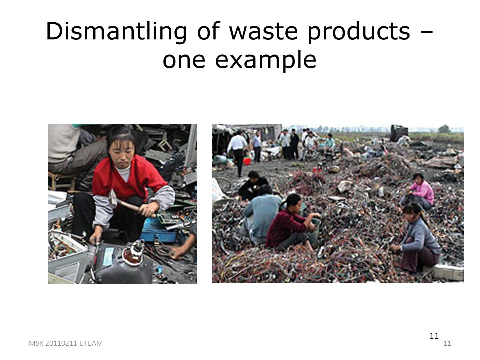11 Dismantling of waste products – one example MSK 20110211 ETEAM