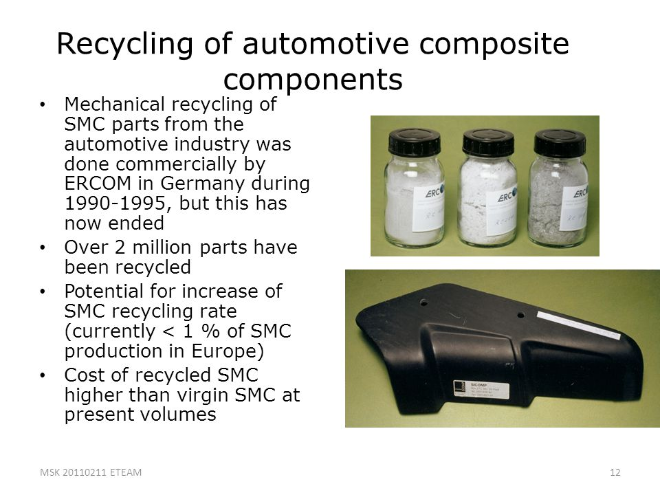 12 Recycling of automotive composite components Mechanical recycling of SMC parts from the automotive industry was done commercially by ERCOM in Germa