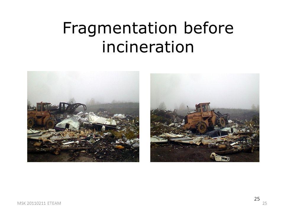 25 Fragmentation before incineration 25 MSK 20110211 ETEAM