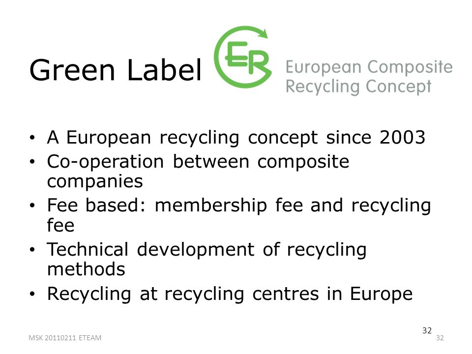 32 Green Label A European recycling concept since 2003 Co-operation between composite companies Fee based: membership fee and recycling fee Technical