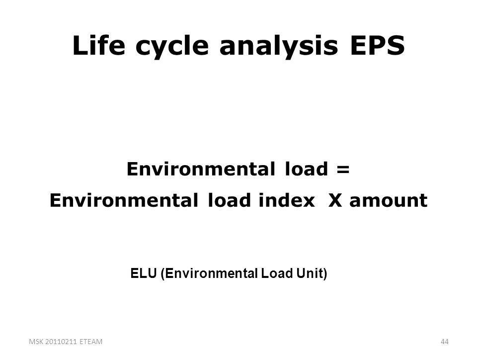 44 Life cycle analysis EPS Environmental load = Environmental load index X amount ELU (Environmental Load Unit) MSK 20110211 ETEAM