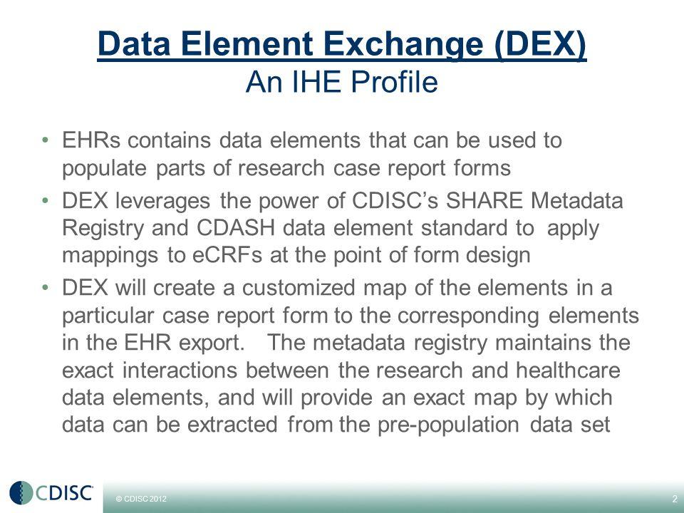 Data Element Exchange (DEX) RetrieveDataElementList [QRPH -43]  Metadata ConsumerMetadata Source RetrieveMetadata [QRPH -44]  DEX Actor Transaction Diagram DEX maps research data elements to healthcare data elements 3