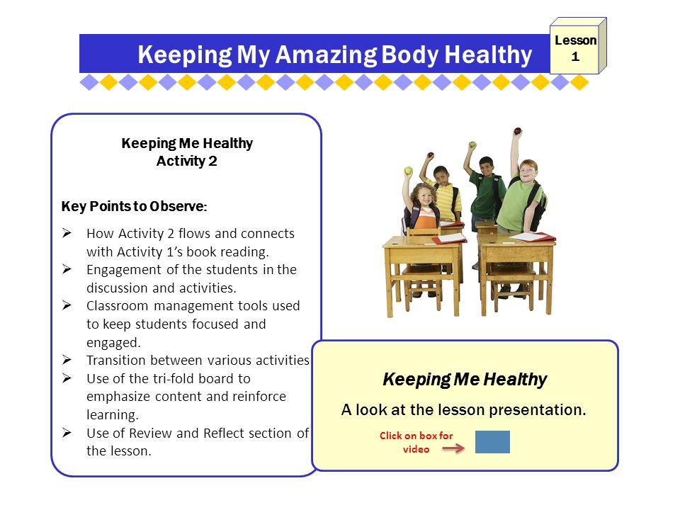 Keeping My Amazing Body Healthy Keeping Me Healthy Activity 2 Key Points to Observe:  How Activity 2 flows and connects with Activity 1's book reading.