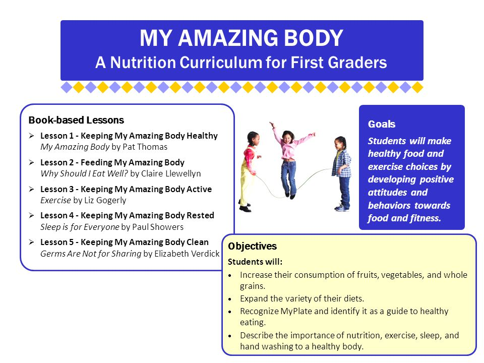 MY AMAZING BODY A Nutrition Curriculum for First Graders Book-based Lessons  Lesson 1 - Keeping My Amazing Body Healthy My Amazing Body by Pat Thomas  Lesson 2 - Feeding My Amazing Body Why Should I Eat Well.