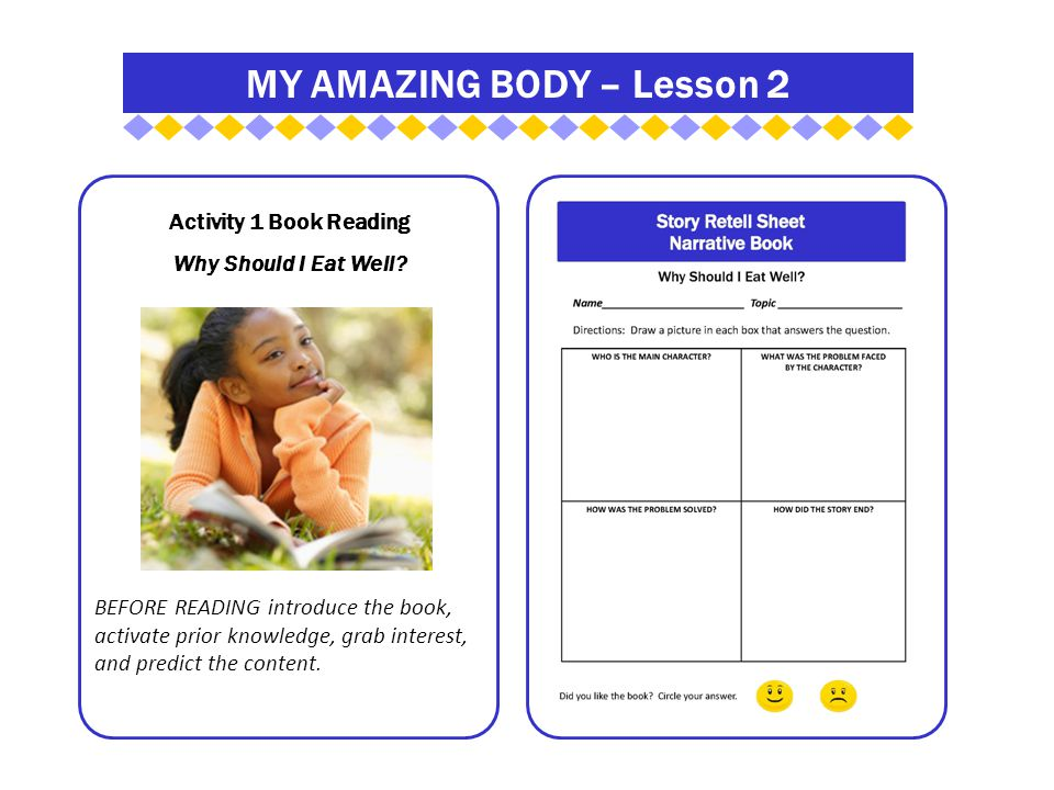 MY AMAZING BODY – Lesson 2 Activity 1 Book Reading Why Should I Eat Well.