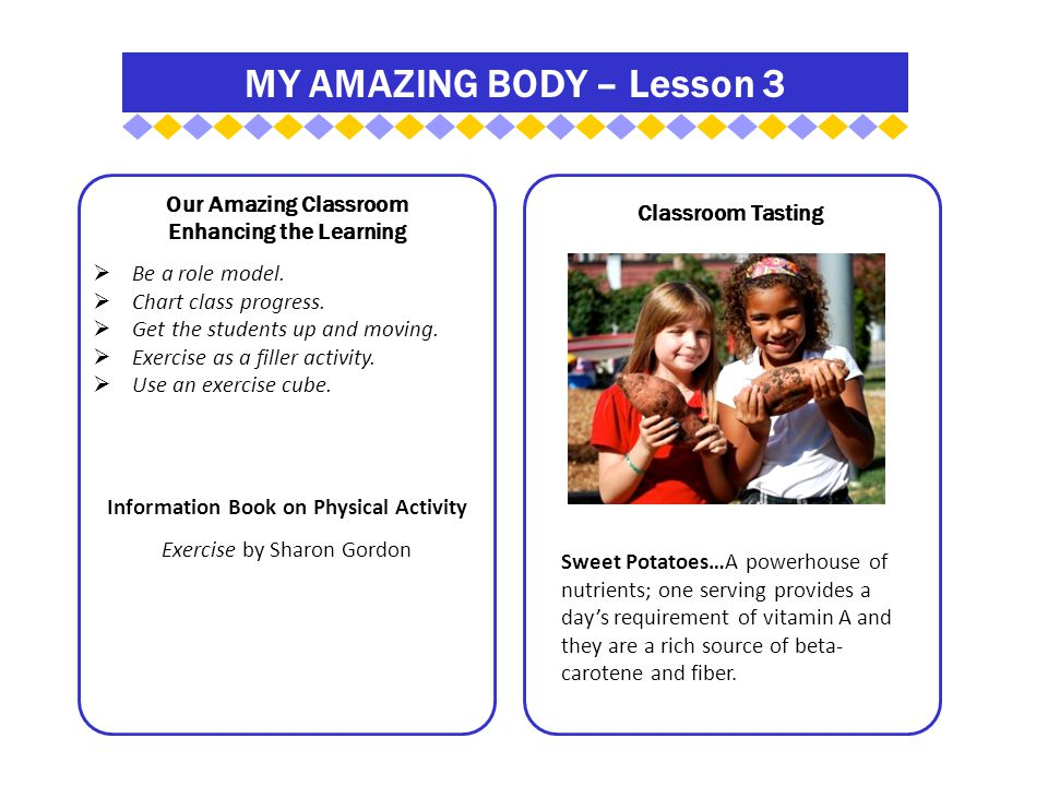 MY AMAZING BODY – Lesson 3 Our Amazing Classroom Enhancing the Learning  Be a role model.