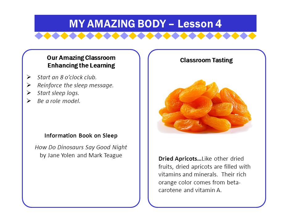 MY AMAZING BODY – Lesson 4 Our Amazing Classroom Enhancing the Learning  Start an 8 o'clock club.