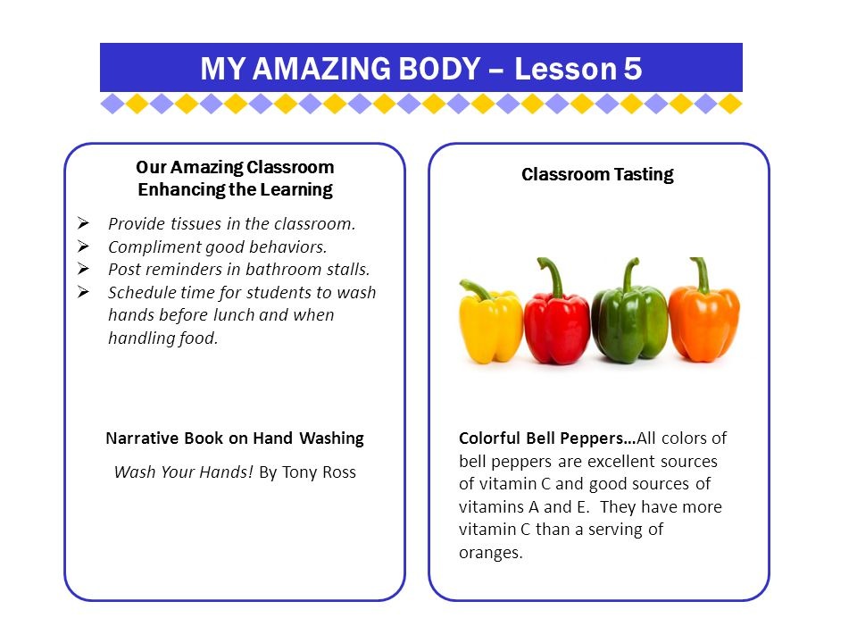 MY AMAZING BODY – Lesson 5 Our Amazing Classroom Enhancing the Learning  Provide tissues in the classroom.