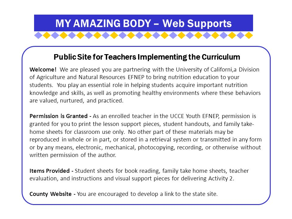 MY AMAZING BODY – Web Supports Public Site for Teachers Implementing the Curriculum Welcome.