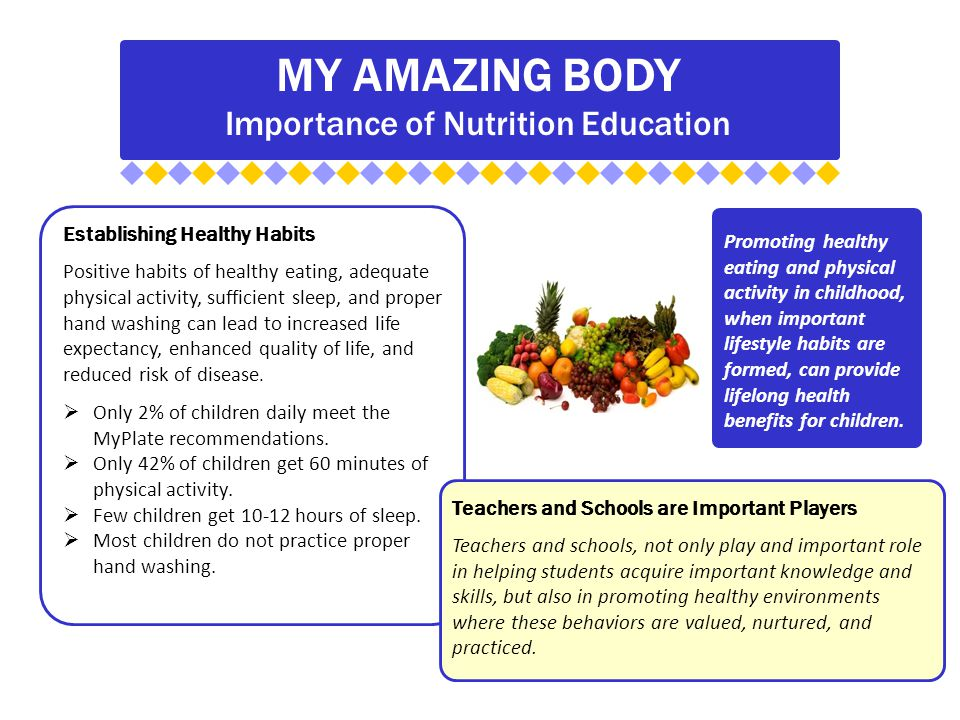 MY AMAZING BODY Importance of Nutrition Education Establishing Healthy Habits Positive habits of healthy eating, adequate physical activity, sufficient sleep, and proper hand washing can lead to increased life expectancy, enhanced quality of life, and reduced risk of disease.