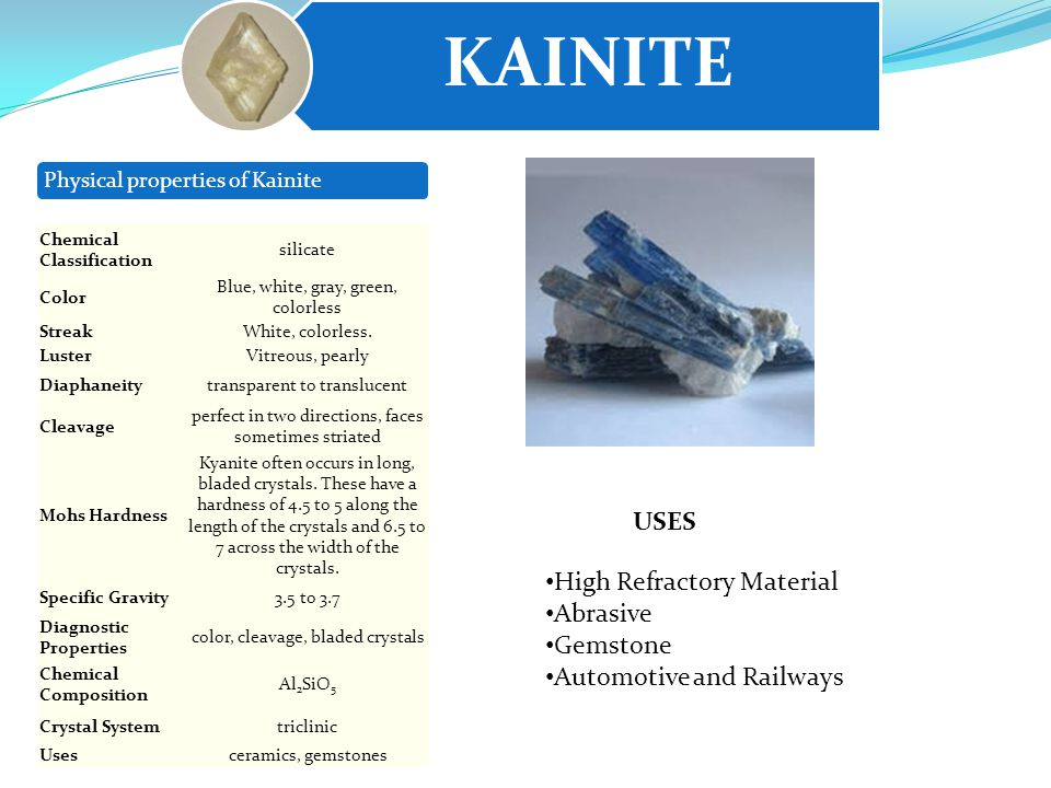 KAINITE Physical properties of Kainite USES Chemical Classification silicate Color Blue, white, gray, green, colorless StreakWhite, colorless.