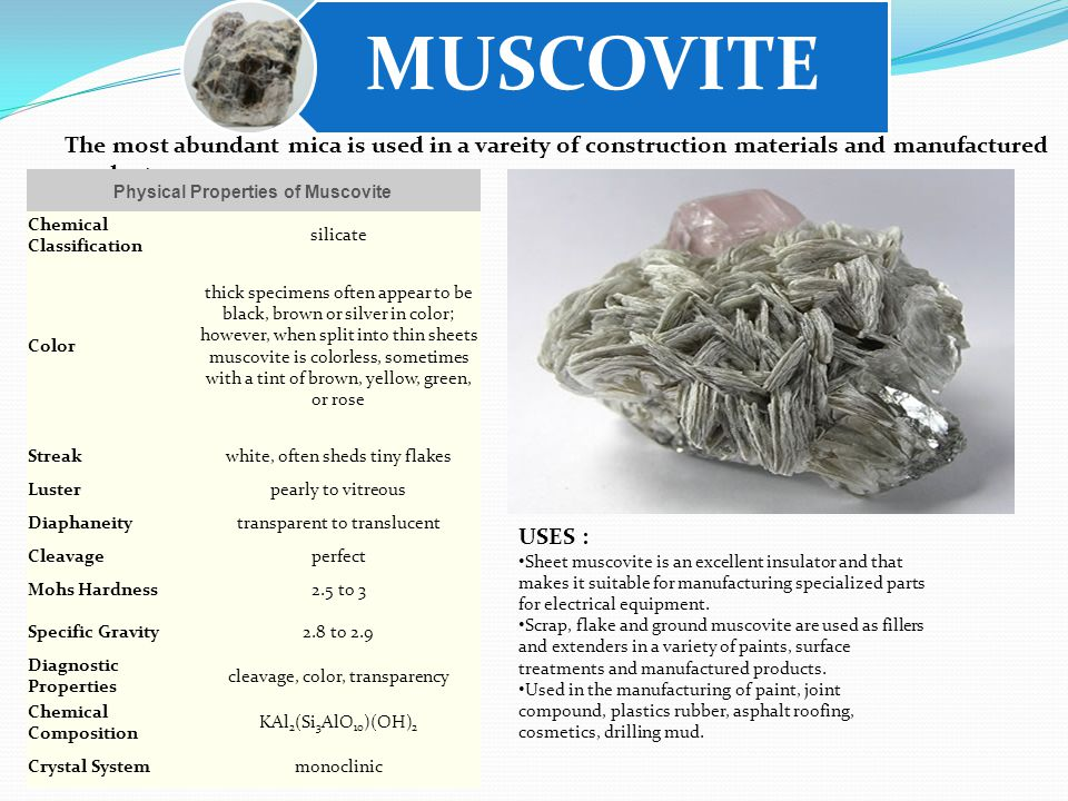 MUSCOVITE USES : Sheet muscovite is an excellent insulator and that makes it suitable for manufacturing specialized parts for electrical equipment.
