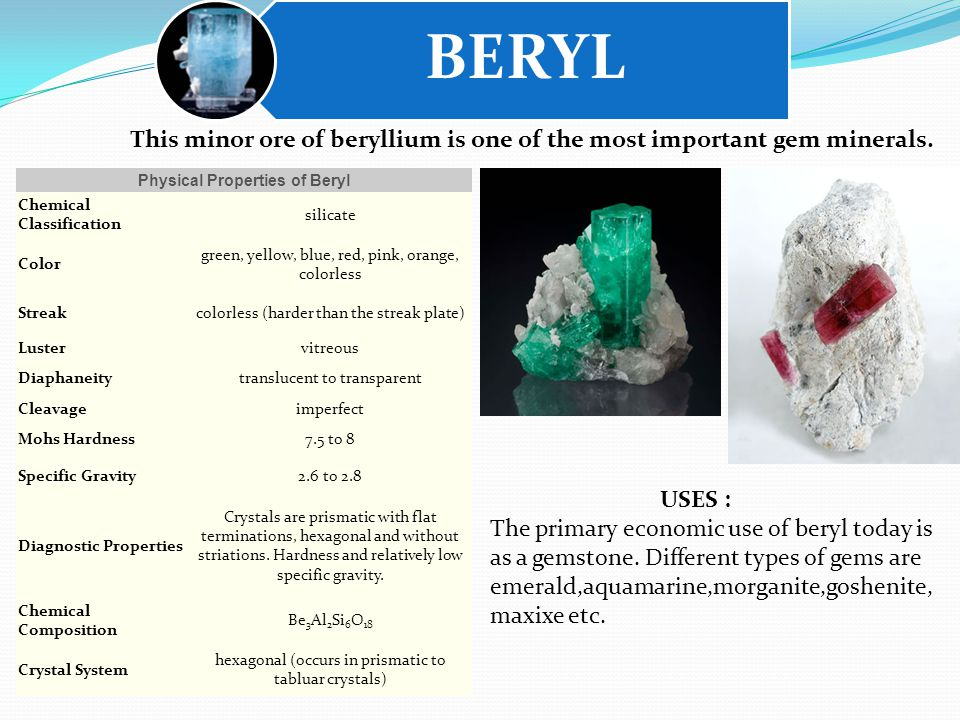 BERYL Physical Properties of Beryl Chemical Classification silicate Color green, yellow, blue, red, pink, orange, colorless Streakcolorless (harder than the streak plate) Lustervitreous Diaphaneitytranslucent to transparent Cleavageimperfect Mohs Hardness7.5 to 8 Specific Gravity2.6 to 2.8 Diagnostic Properties Crystals are prismatic with flat terminations, hexagonal and without striations.