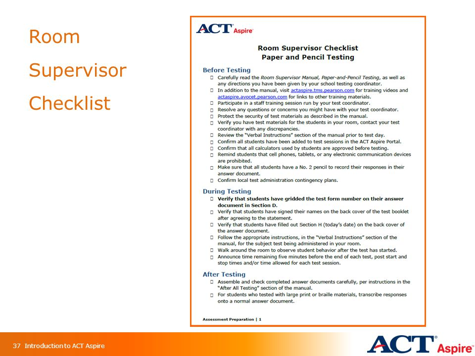Room Supervisor Checklist Introduction to ACT Aspire37