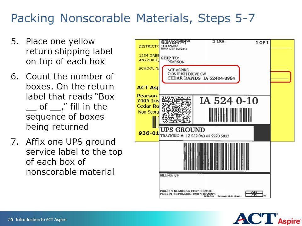 Packing Nonscorable Materials, Steps 5-7 5.Place one yellow return shipping label on top of each box 6.Count the number of boxes.
