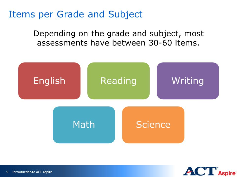 Items per Grade and Subject 9 EnglishReadingWritingMathScience Depending on the grade and subject, most assessments have between 30-60 items.