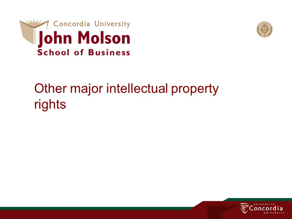 Other major intellectual property rights