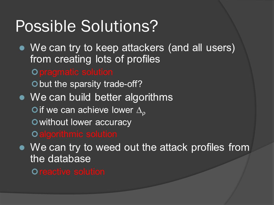 Possible Solutions.