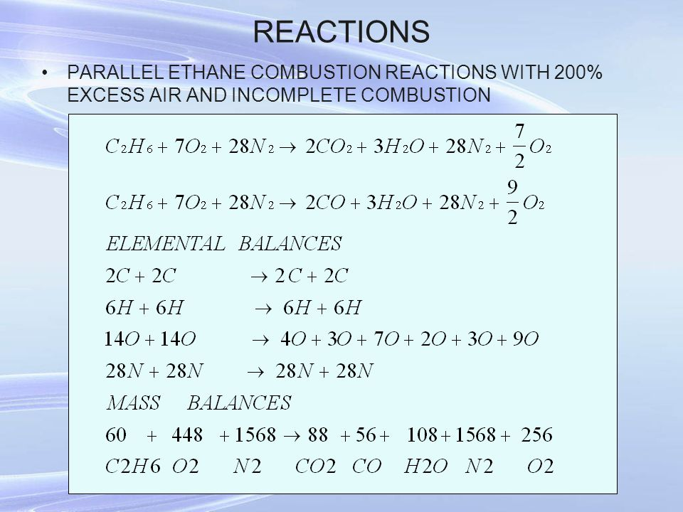 REACTIONS PARALLEL ETHANE COMBUSTION REACTIONS WITH 200% EXCESS AIR AND INCOMPLETE COMBUSTION