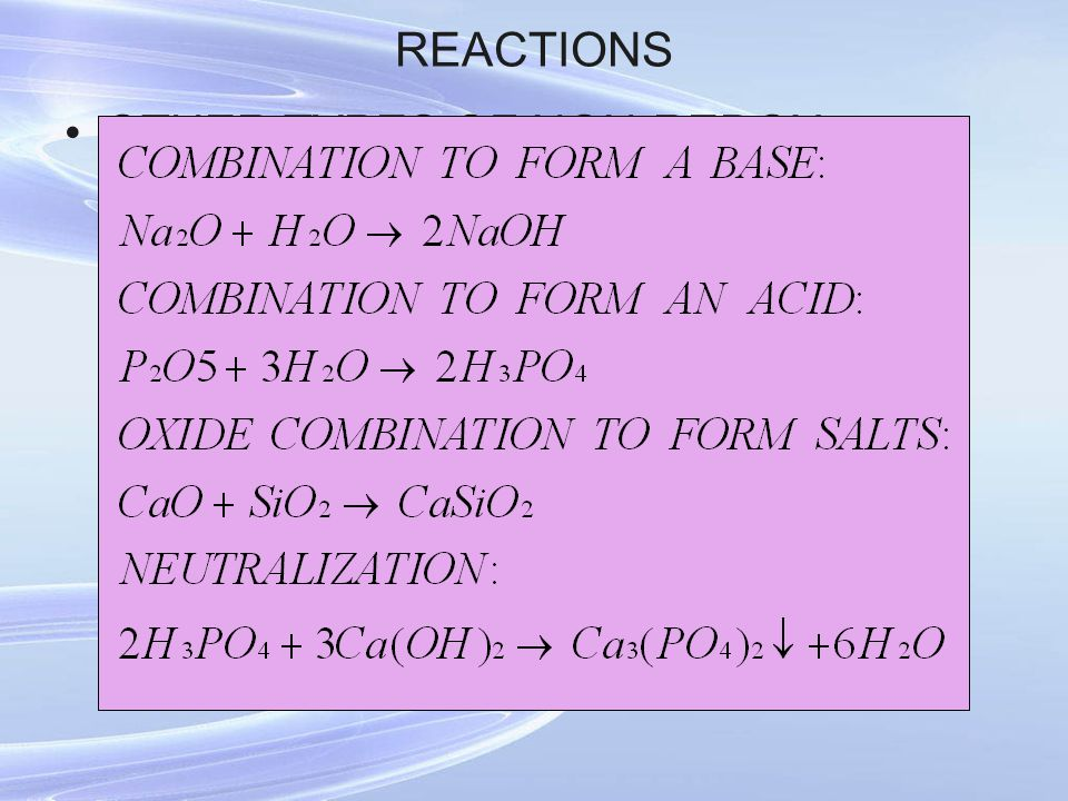 REACTIONS OTHER TYPES OF NON-REDOX REACTIONS: