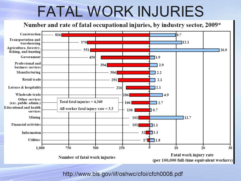 FATAL WORK INJURIES http://www.bls.gov/iif/oshwc/cfoi/cfch0008.pdf