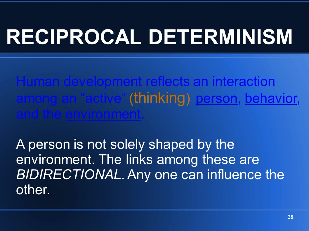 """28 RECIPROCAL DETERMINISM Human development reflects an interaction among an """"active"""" ( thinking ) person, behavior, and the environment. A person is"""