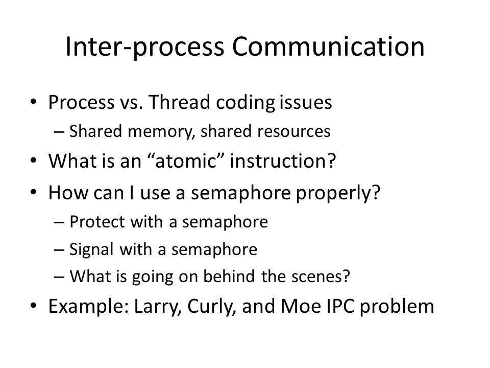 Inter-process Communication Process vs.