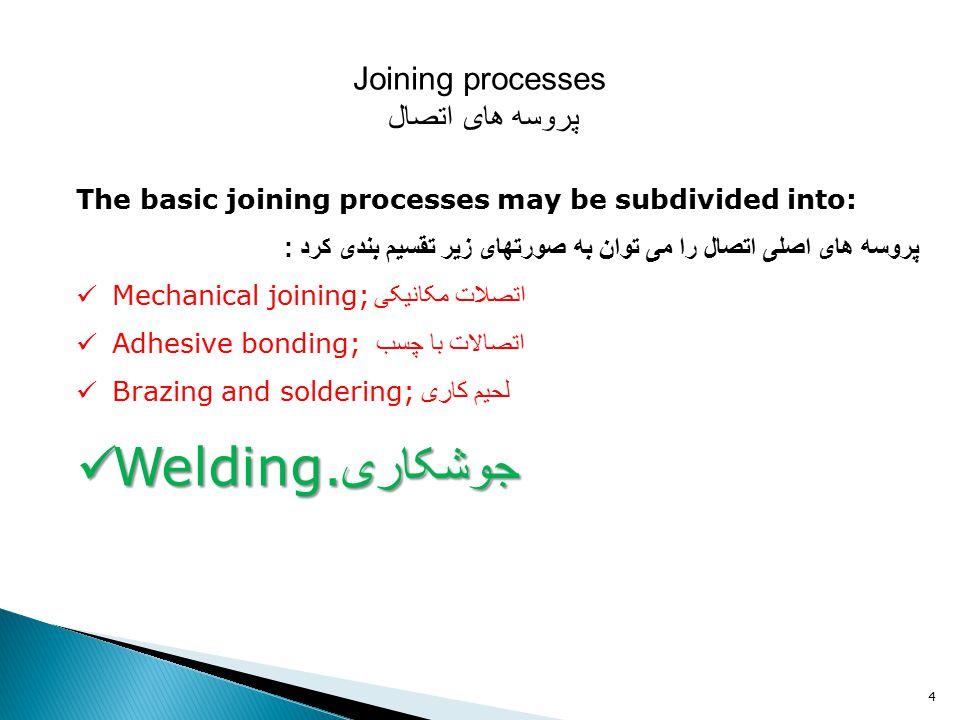 4 Joining processes پروسه های اتصال The basic joining processes may be subdivided into: پروسه های اصلی اتصال را می توان به صورتهای زیر تقسیم بندی کرد : Mechanical joining; اتصلات مکانیکی Adhesive bonding; اتصالات با چسب Brazing and soldering; لحیم کاری Welding.