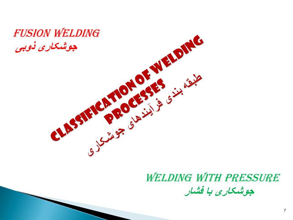 7 Welding with pressure جوشکاری با فشار Fusion welding جوشکاری ذوبی
