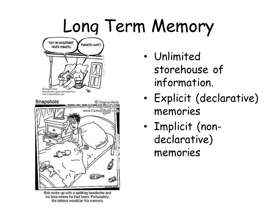 Long Term Memory Unlimited storehouse of information. Explicit (declarative) memories Implicit (non- declarative) memories