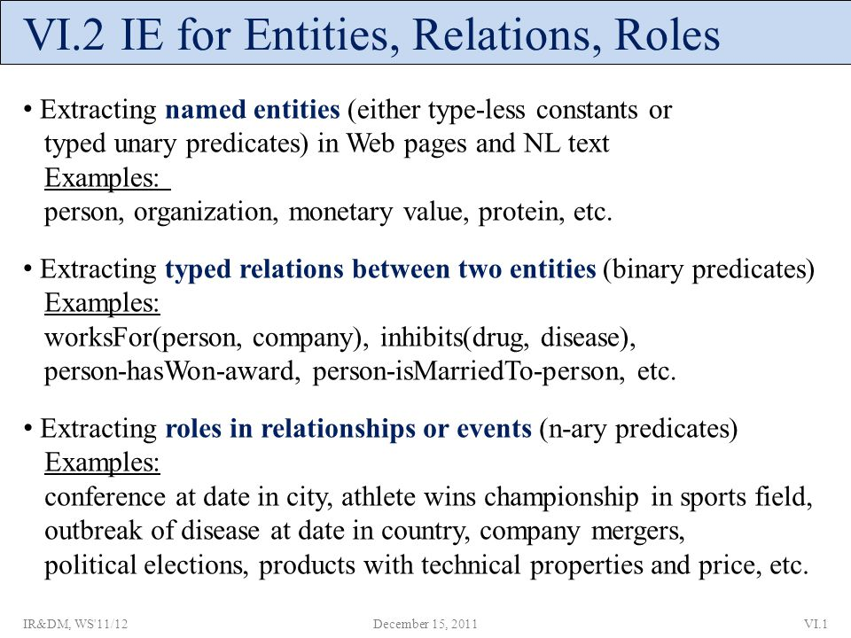 VI.2 IE for Entities, Relations, Roles Extracting named entities (either type-less constants or typed unary predicates) in Web pages and NL text Examples: person, organization, monetary value, protein, etc.