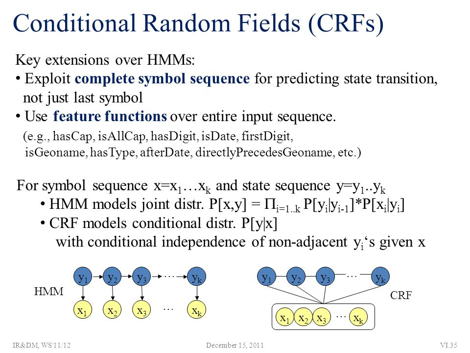 x1x1 x2x2 x3x3 xkxk ykyk y3y3 y2y2 y1y1 Conditional Random Fields (CRFs) Key extensions over HMMs: Exploit complete symbol sequence for predicting state transition, not just last symbol Use feature functions over entire input sequence.